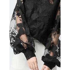 Solido Pizzo Alzarsi il colletto Puff Sleeve Maniche lunghe Casuale Camicie