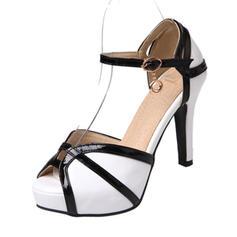 Women's PU Stiletto Heel Sandals Pumps Platform Peep Toe With Buckle shoes