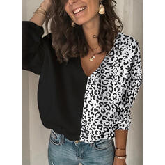 Animal Print Patchwork V neck Sweaters
