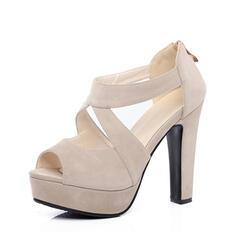 Frauen Veloursleder Stämmiger Absatz Sandalen Absatzschuhe Plateauschuh Peep Toe mit Reißverschluss Hohl-out Schuhe