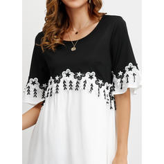 Color block 1/2 Sleeves Shift Above Knee Casual/Elegant Dresses