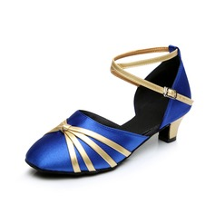 Women's Kids' Satin Heels Sandals Ballroom With Ankle Strap Dance Shoes