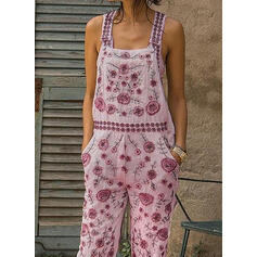 Floral Print Strap Sleeveless Casual Boho Vacation Jumpsuit