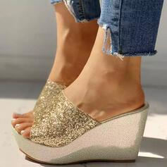 Women's PU Wedge Heel Sandals Wedges Peep Toe Slippers Heels With Sequin Sparkling Glitter shoes