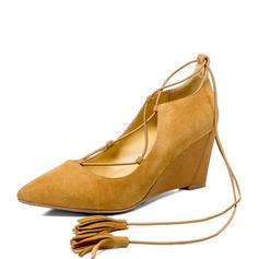 Femmes Vrai cuir Talon compensé Bout fermé Compensée avec Dentelle chaussures