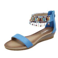 Frauen PU Keil Absatz Sandalen Peep Toe mit Quaste Schuhe