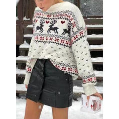 Print Cable-knit Round Neck Ugly Christmas Sweater