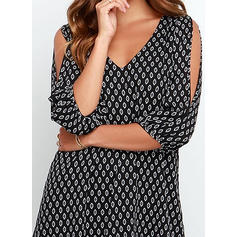 Print 3/4 Sleeves/Cold Shoulder Sleeve Shift Above Knee Casual/Elegant Tunic Dresses