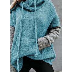 Color Block Pocket Hooded Casual Sweaters