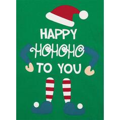文字 縞模様の マッチングファミリー クリスマスパジャマ