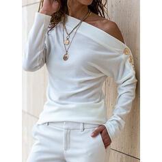 Solido Una spalla Maniche lunghe Bottone Casuale Camicie