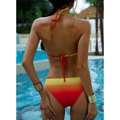 Splice color Halter V-Neck Sexy Colorful Bikinis Swimsuits