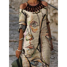 Print 1/2 Sleeves Cold Shoulder Sleeve Shift Knee Length Casual Tunic Dresses