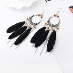 Exotic Vintage Alloy Feather Acrylic Women's Earrings