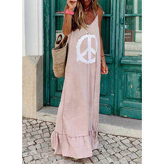 Print Sleeveless Shift Sexy/Casual/Vacation Maxi Dresses