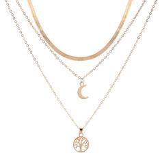 De moda Aleación con Luna Sistemas de la joyería Collares 3 PIEZAS