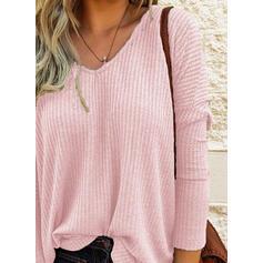 Solide V-hals Lange Mouwen Casual Basic Breiwerk Overhemd