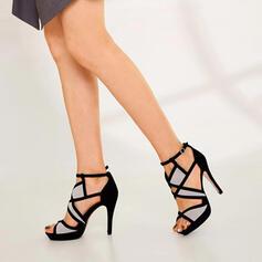Women's Suede Stiletto Heel Pumps Peep Toe With Buckle shoes