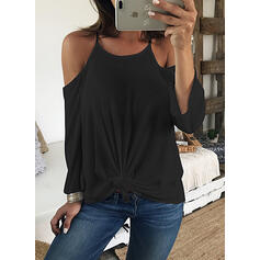 Solid Cold Shoulder Long Sleeves Sexy Blouses