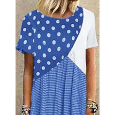 Εκτύπωση/Χρωματιστό Μπλοκ/Πουά Κοντά Μανίκια Αμάνικο Καθημερινό Μάξι Сукні