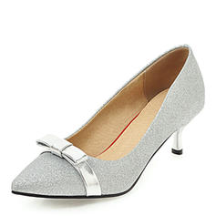 Women's Leatherette Stiletto Heel Pumps With Bowknot Sequin