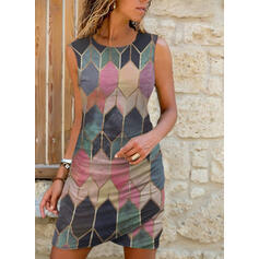 Imprimeu/Geometrik Kolsuz Manşon Deasupra Genunchiului gündelik Elbiseler