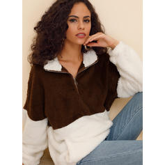 Patchwork Lapel Long Sleeves Casual Blouses