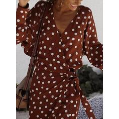 PolkaDot Long Sleeves/Batwing Sleeves/Lantern Sleeve Sheath Above Knee Casual/Elegant Wrap Dresses