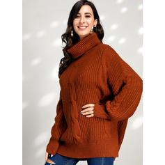 Einfarbig Zopfmuster Grobstrick Rollkragen Freizeit Pullover