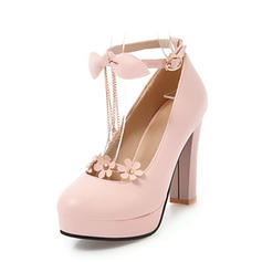 Women's PVC Chunky Heel Pumps Platform With Bowknot Chain Tassel Flower shoes