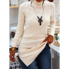 Solid Cable-knit Chunky knit Turtleneck Casual Long Sweater Dress