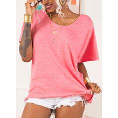 Solide V-hals Korte Mouwen Casual Basic Breiwerk T-shirts