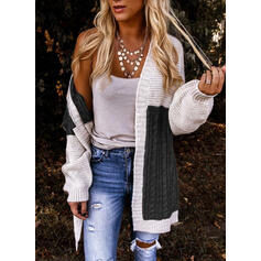 Color Block Cable-knit Casual Long Cardigan