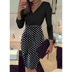 PolkaDot Long Sleeves Bodycon Knee Length Casual/Elegant Dresses