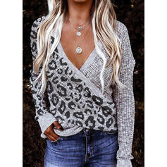 Color block Leopard V-hals Casual Trøjer