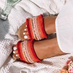 Femmes Tissu Talon plat Sandales Chaussures plates À bout ouvert avec Autres chaussures
