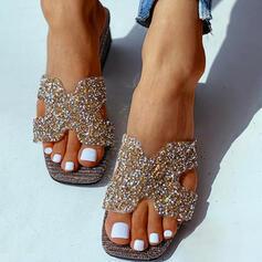 Women's PU Chunky Heel Sandals Wedges Peep Toe Slippers With Rhinestone shoes