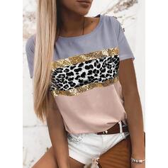 Χρώμα μπλοκ λεοπάρδαλη Kerek nyak Rövidujjú Μπλουζάκια