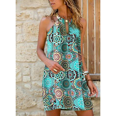 Print/Floral Sleeveless Shift Above Knee Casual/Boho Dresses
