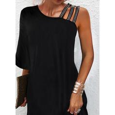 Sólido Lentejuelas Mangas 3/4 Vestidos sueltos Sobre la Rodilla Pequeños Negros/Elegante Vestidos