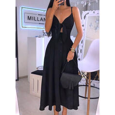 Solid Sleeveless A-line Little Black/Sexy/Party/Vacation Maxi Dresses