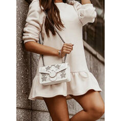 Einfarbig Lange Ärmel Shift Über dem Knie Freizeit Tunika Kleider