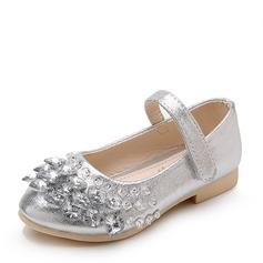 Mädchens Geschlossene Zehe Leder Flache Ferse Blumenmädchen Schuhe mit Strass Klettverschluss