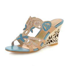 Mulheres Couro Plataforma Sandálias Calços Peep toe com Strass sapatos