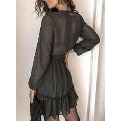 Solid Long Sleeves A-line Above Knee Little Black/Casual/Elegant Dresses