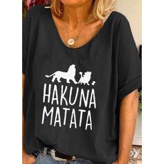Animalske Udskriv Bogstav Rund hals Korte ærmer T-shirts