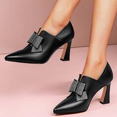 Femmes PU Talon kitten Escarpins Low Top avec Strass Bowknot Couleur unie chaussures