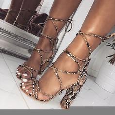 Femmes PU Talon bottier Sandales Escarpins À bout ouvert avec La copie Animale Dentelle chaussures