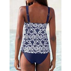 Print Strap V-Neck Vintage Fresh Tankinis Swimsuits
