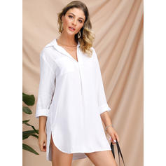 Solid 3/4 Sleeves Shift Above Knee Casual/Elegant Dresses